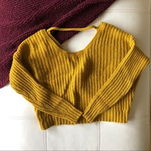 Open Back Bow Detail Crop Sweater